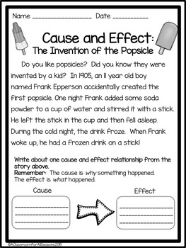 Cause and Effect Worksheets and Activities by A Classroom