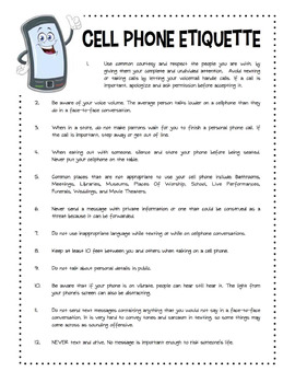 Cell Phone Etiquette Worksheet Packet By Sunny Side Up