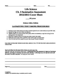 Cell Structure and Function Summative Assessment (chapter ...