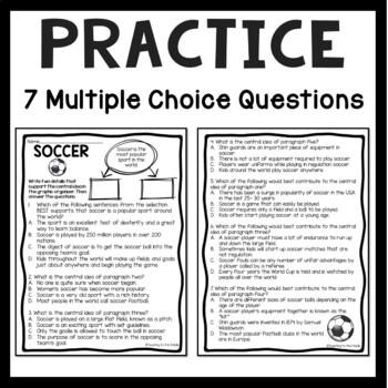 Central Idea Worksheet on Soccer, Middle School ELA Test