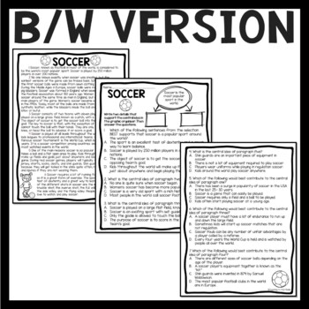 Central Idea Worksheet on Soccer, Middle School ELA Test
