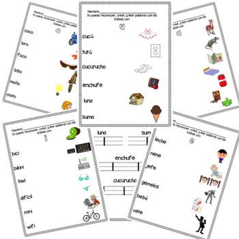 Spanish Syllables Reading Center / Centro de sílabas by