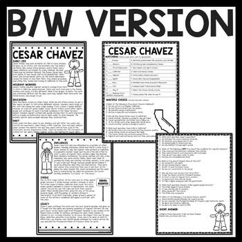Activist Cesar Chavez Biography Reading Comprehension