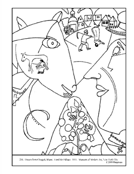 Chagall, Marc. I and the Village. Coloring page and lesson