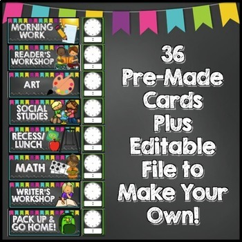 Chalkboard Schedule Cards EDITABLE By Cupcakes N Curriculum TpT