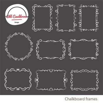 chalkboard curly frames clipart