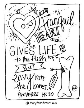 Character Counts Set of 8 Hand-drawn Bible Verse Coloring