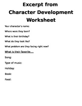 Character Development Worksheet for Creative Writing or