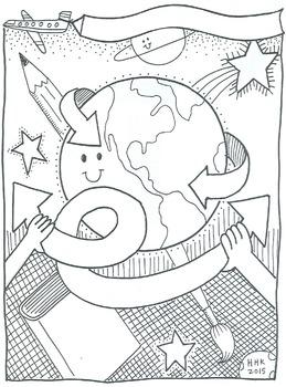 Character Ed illustrations: 7 coloring sheets & bulletin