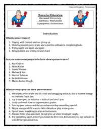 Character Education: Perseverance books, activities, video ...