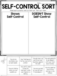Character Education: Self Control Lesson and Printables by ...