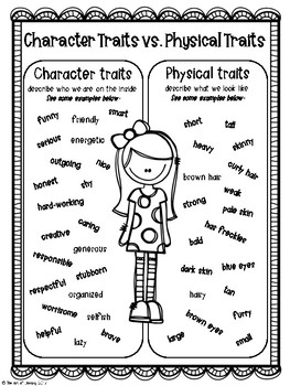 Character Traits & Physical Traits Posters: FREEBIE! by