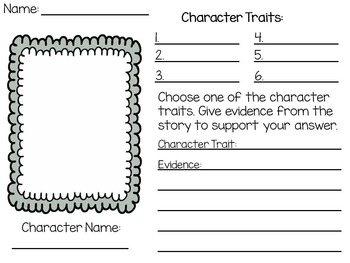 Character Traits Worksheet Printable By Learning Littles  Tpt