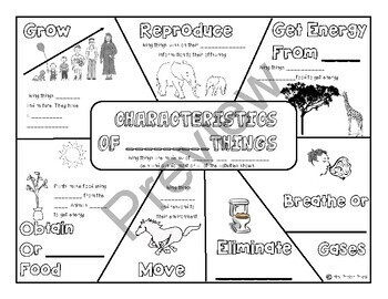 Characteristics of Living Things Notes, Quiz, & PPT by Mrs