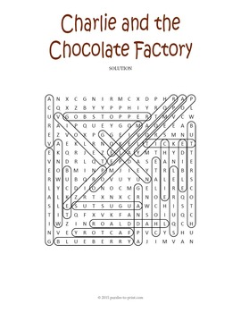 Charlie and the Chocolate Factory Word Search Puzzle by
