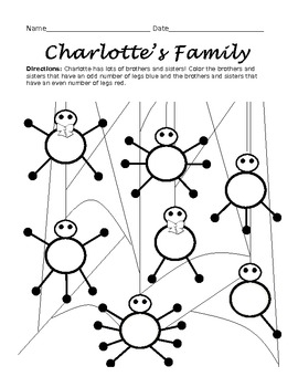 Charlotte's Web Worksheet: Odd and Even Numbers by One