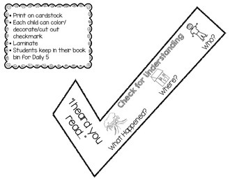 Check for Understanding Bookmark (Daily 5 Read to Someone