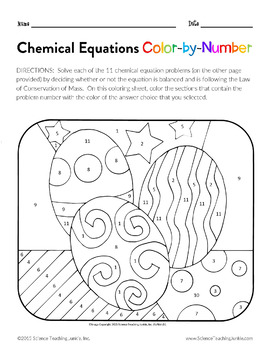 Chemical Equations Color-by-Number (TEKS 8.5F) by Science