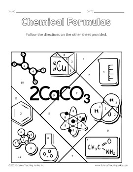 Chemical Formulas Color-by-Number TEKS 8.5D by Science