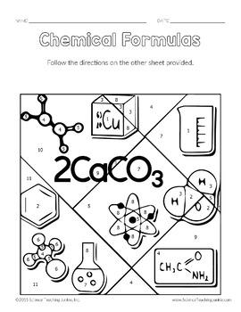 Chemical Formulas Color-by-Number TEKS 8.5D by Science