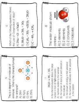 Chemical Reactions Review Task Cards by Science Teaching
