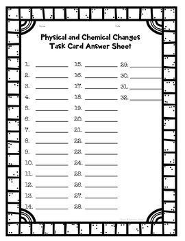 Chemical and Physical Changes Printable and Digital Task