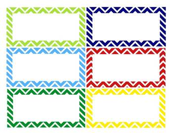 Chevron Classroom Labels With And Wo Pictures 3 Editable Sizes