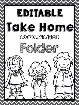 Chevron Take Home Folder Editable and Black and White by