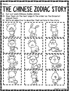 Chinese Zodiac Story Book to Color, Reading Comprehension