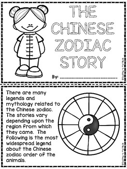 Chinese Zodiac Story Coloring Book and Questions Activity