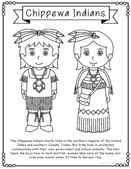 Chippewa Indians Coloring Page Craft and Poster, Native