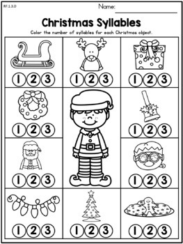 Christmas Literacy Worksheets (1st Grade) by United
