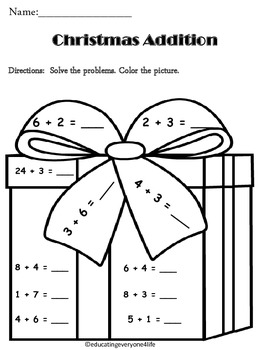 Christmas: Addition Math Coloring Activtiy by Educating