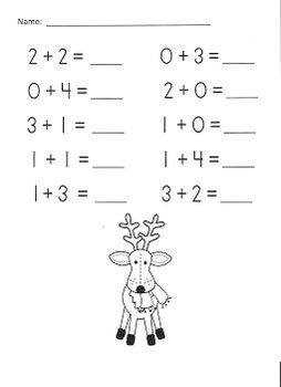 Christmas Addition Practice Packet (Sums of 0-5) by Kamp