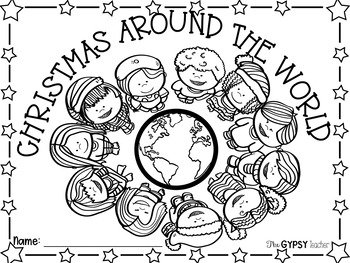 Christmas Around The World Book Cover and Coloring Page