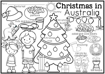 Christmas Around the World Coloring Pages and Vocabulary