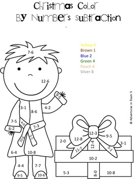 Christmas Color By Numbers (Addition and Subtraction) by