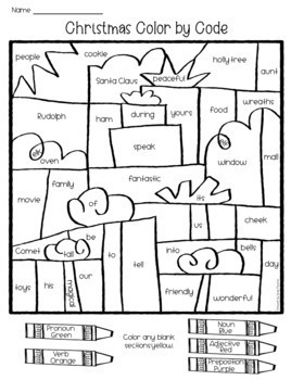 Christmas Grammar Coloring Pages Parts of Speech by Love