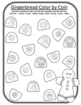 Christmas Color by Coin Christmas Gingerbread Math Centers