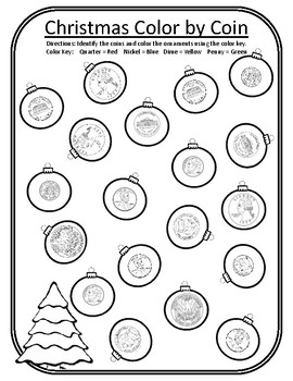 Christmas Color by Coin Christmas Tree Christmas Math