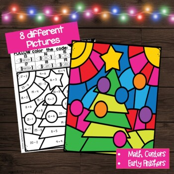 Christmas Color by Number Addition and Subtraction by