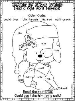 Christmas Color by Sight Word Sentences (1st Grade) by The