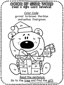 Christmas Color by Sight Word Sentences (Pre-Primer) by