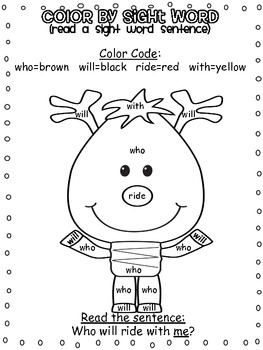 Christmas Color by Sight Word Sentences (Primer Edition