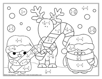 Decimal Operations Color By Number Sketch Coloring Page
