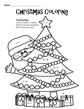 Christmas Coloring Math Coloring Worksheet by JB Education