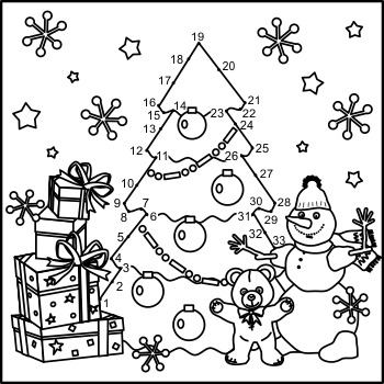 Connect the Dots and Coloring Page with Christmas Tree