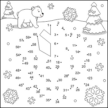 Connect the Dots and Coloring Page with Snowflake