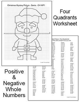 Christmas Math Coordinate Graphing: Santa, Reindeer, Elf