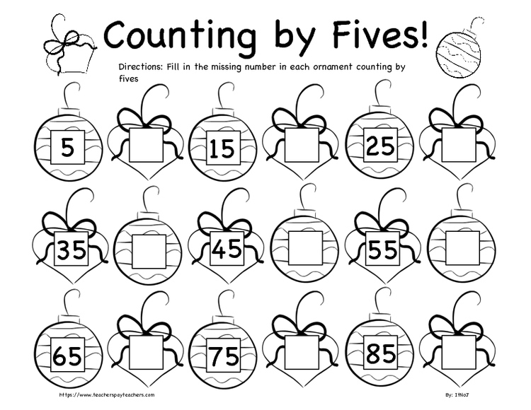 Christmas Counting by Fives and Tens Worksheet Bundle K